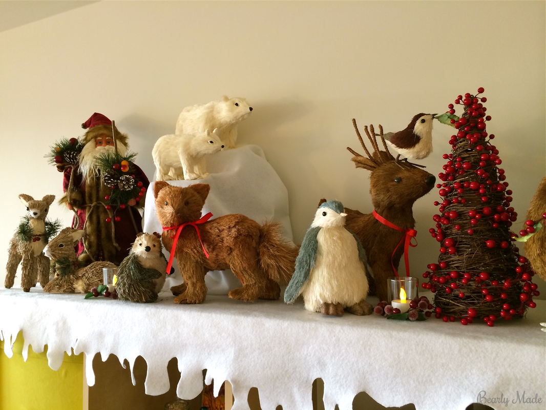 Bottle brush woodland animals - Bottlebrush Animal Christmas Mantel