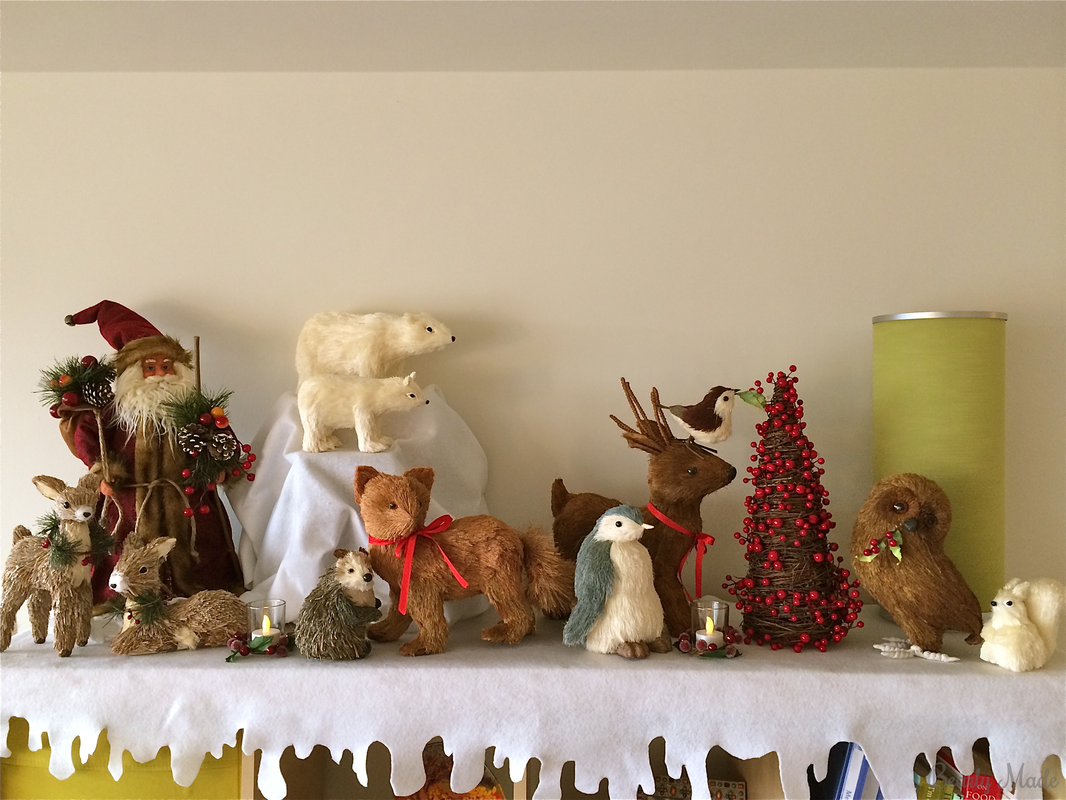 Bottlebrush Animal Christmas Mantel